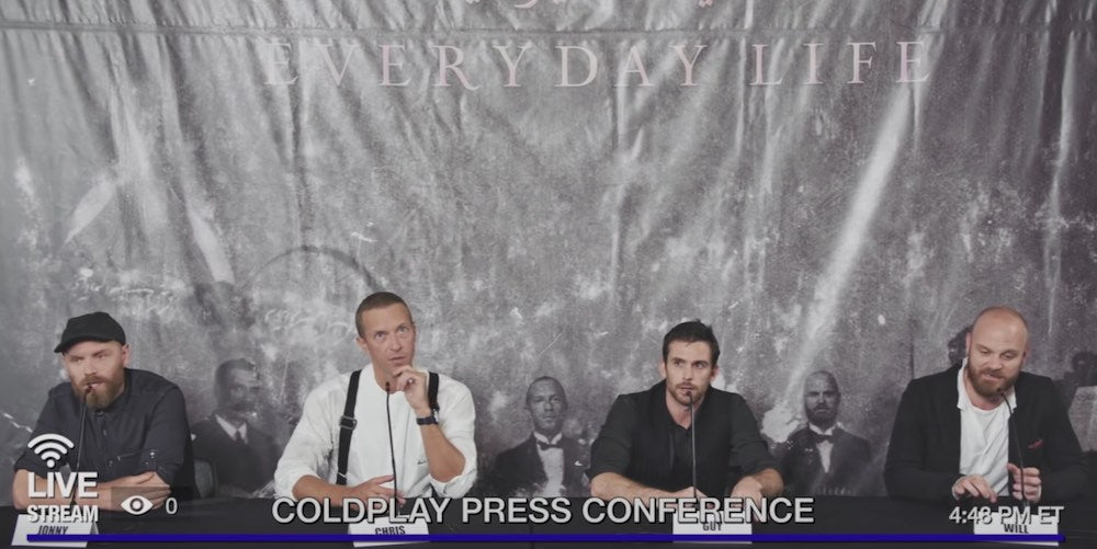 WATCH COLDPLAY'S HILARIOUS NEW ALBUM PRESS CONFERENCE