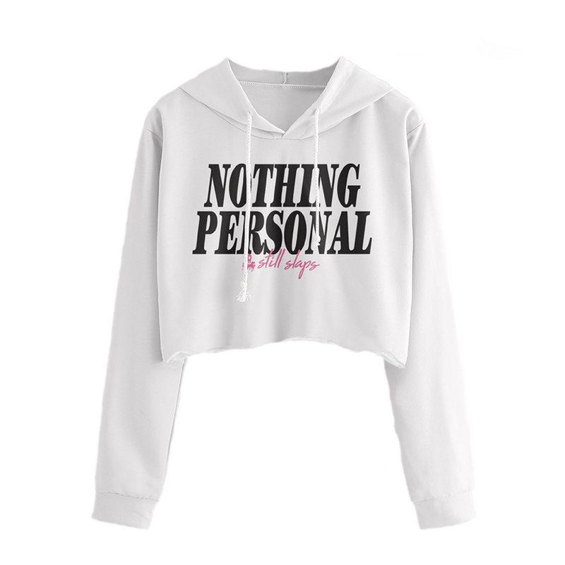 Nothing Personal Crop Hoodie (White)