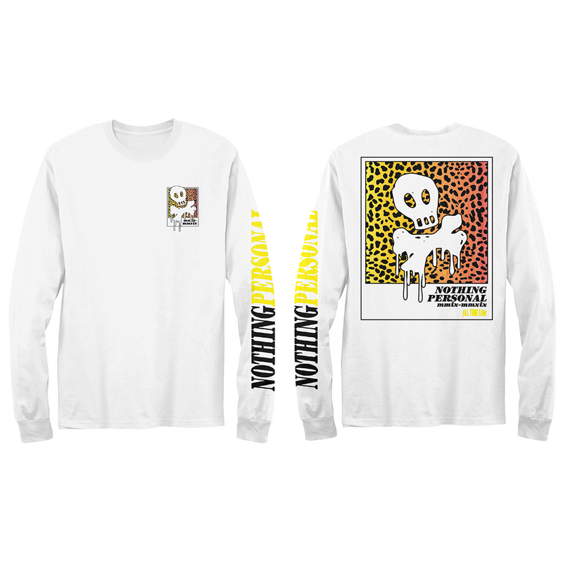 Nothing Personal Leopard Skull and Bones Long Sleeve (White)