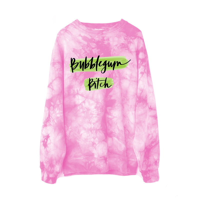 The 'Bubblegum Bitch' Acid Green 'N Pink Tie Dye Sweatshirt