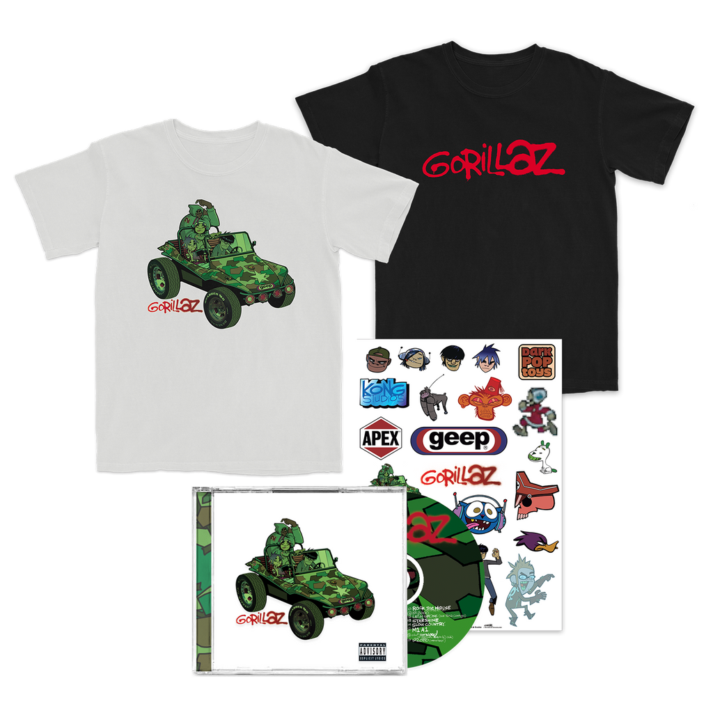 Choice of Group Green Geep White T or Gorillaz Anniversary T and Stickers and CD