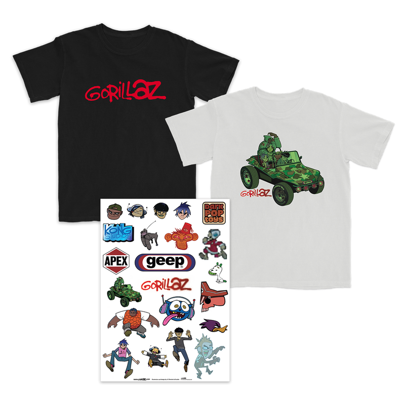 Choice of Group Green Geep White T or Gorillaz Anniversary T and Stickers