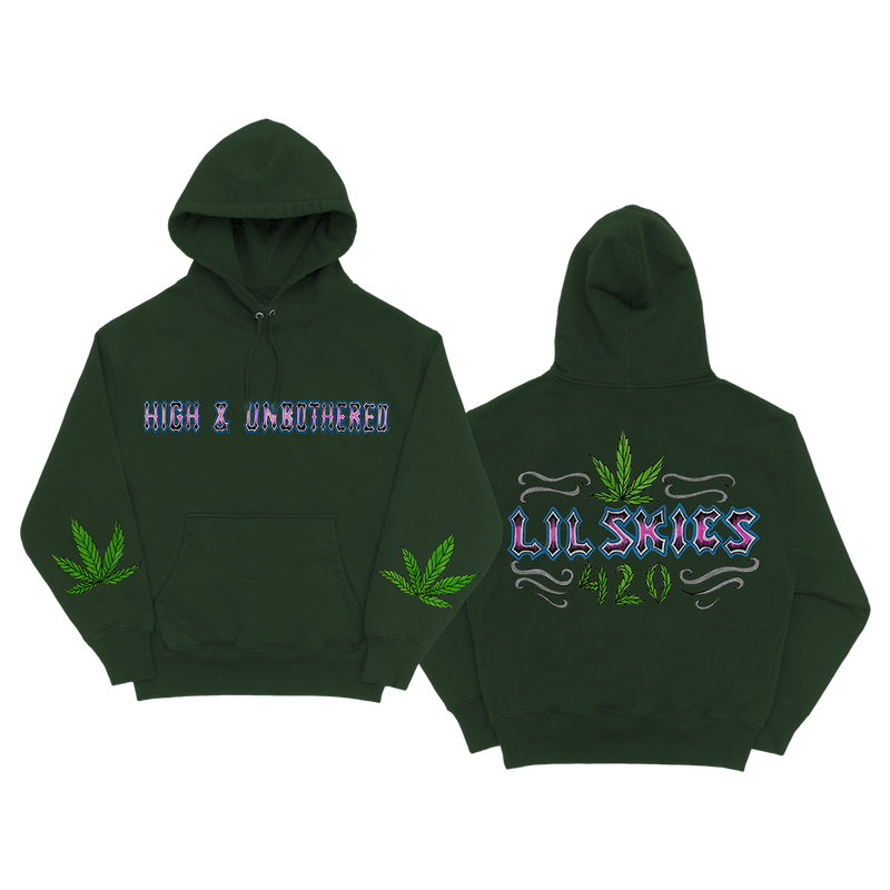 High & Unbothered Green Pullover Hoodie