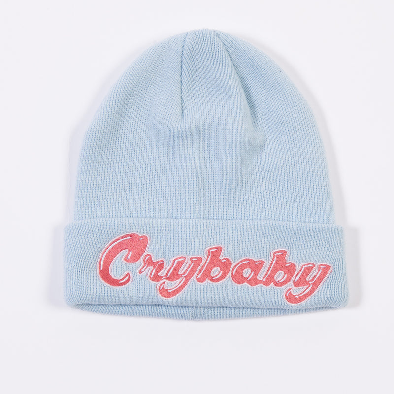 Embroidered Cry Baby Flip Beanie - Light Blue