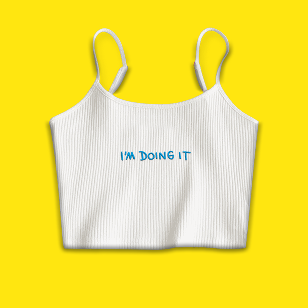 I'M DOING IT Embroidered Singlet Crop Top