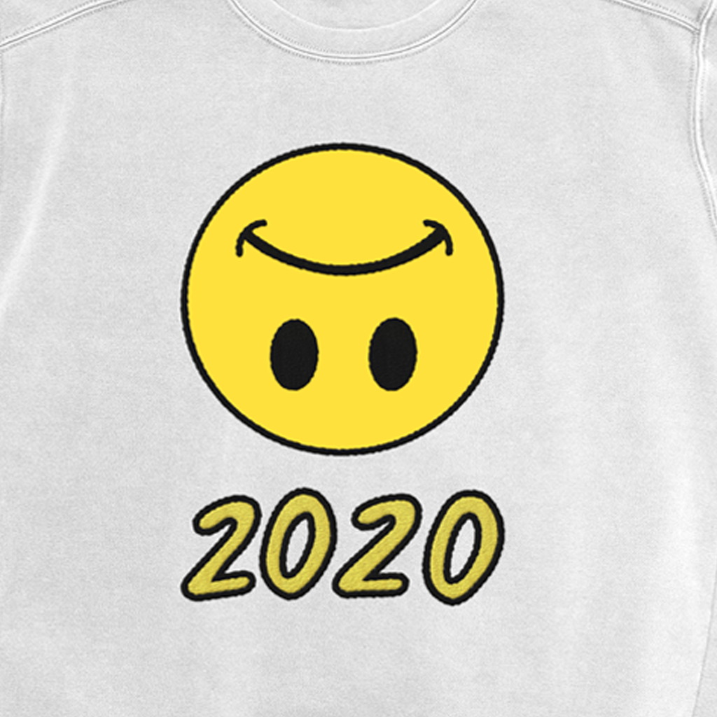 LUV Upside Down Smiley 2020 White Crewneck