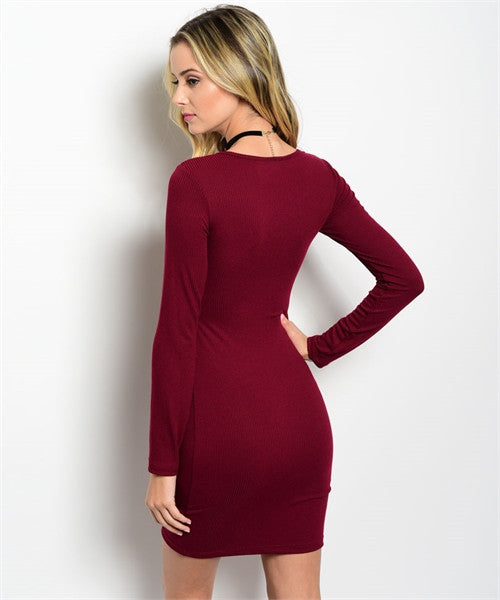 Burgundy Ribbed Dress
