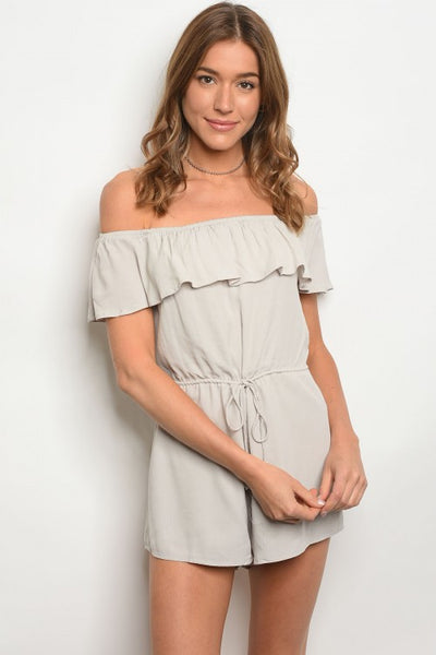 Grey Off Shoulder Romper