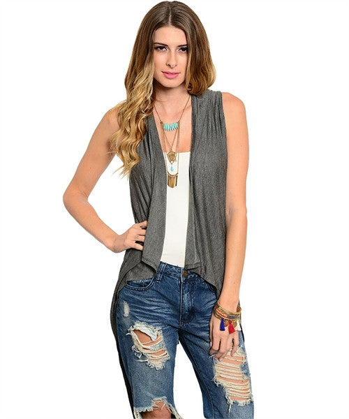 Charcoal Sleeveless Cardigan