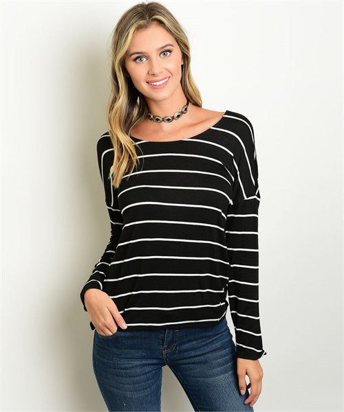 Black and White Striped Longsleeve