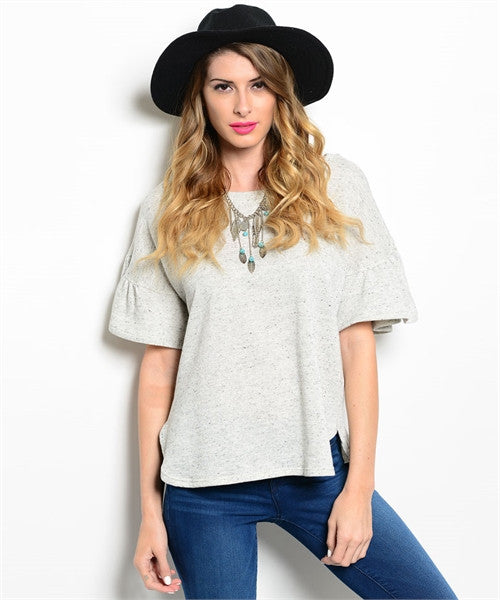 Grey Short-Sleeve Top