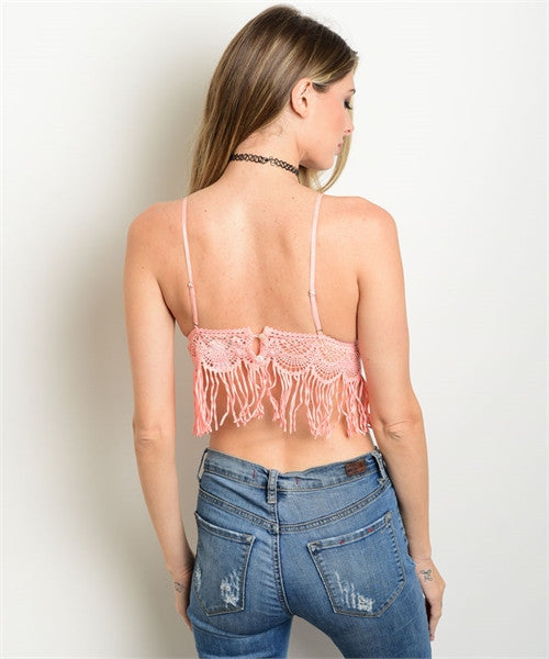 Peach Fringe Crop Top