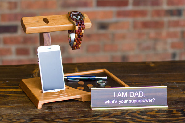 Wood desk caddy and name plate