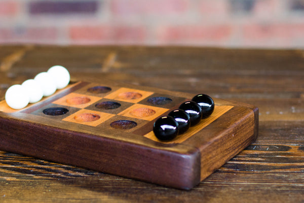 Wood and marble tic-tac-toe set