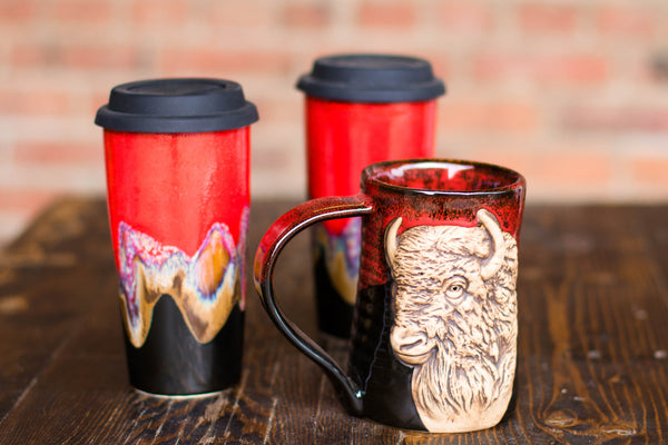 Buffalo Mug and Double Walled Travel Mugs