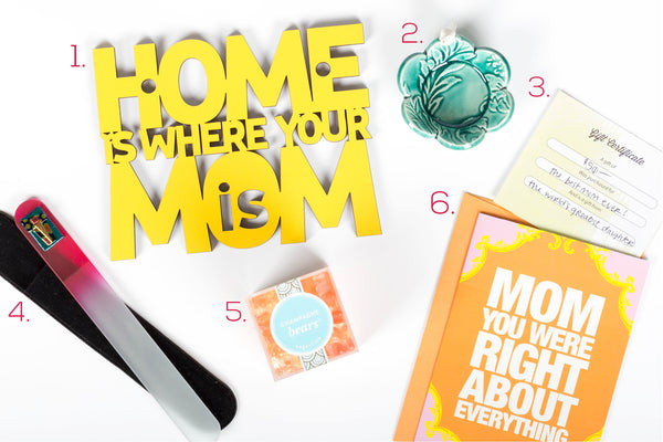 """home is where mom is"" spunky fluff sign, mother's day card, fused glass nail file, bird dish, sugarfina champagne bears, gift certificate"