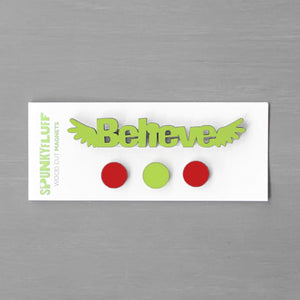 Spunky Fluff Proudly handmade in South Dakota, USA Christmas Bright Believe-Tiny Word Magnet Set