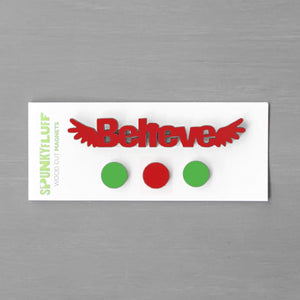 Spunky Fluff Proudly handmade in South Dakota, USA Christmas Traditional Believe-Tiny Word Magnet Set