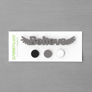 Spunky Fluff Proudly handmade in South Dakota, USA Elegant Neutrals Believe-Tiny Word Magnet Set