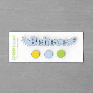 Spunky Fluff Proudly handmade in South Dakota, USA Pretty Pastels Believe-Tiny Word Magnet Set