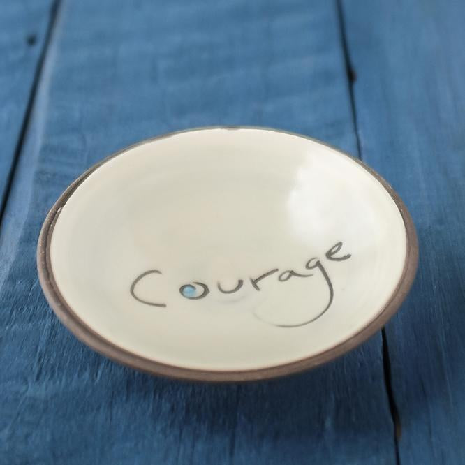 "Zpots Home Accents ""Courage"" ""Courage"" Mini Ceramic Bowl"