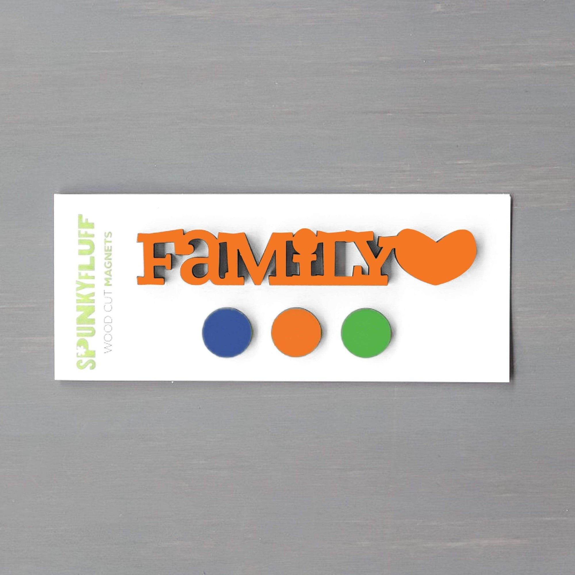 Spunky Fluff Proudly handmade in South Dakota, USA Everyday Brights Family-Tiny Word Magnet Set
