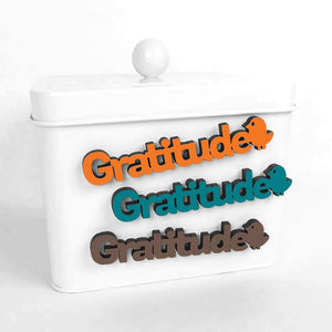 Spunky Fluff Proudly handmade in South Dakota, USA Teal Gratitude-Tiny Word Magnet