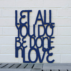 Spunky Fluff Proudly handmade in South Dakota, USA Medium / Navy Blue Let All You Do Be Done In Love
