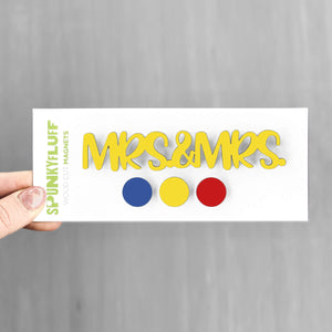 Spunky Fluff Proudly handmade in South Dakota, USA Everyday Brights Mrs & Mrs -Tiny Word Magnet Set