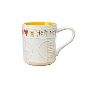 Studio M Proudly Handmade in Missouri, USA Happiness Painted Peace Handcrafted Mugs