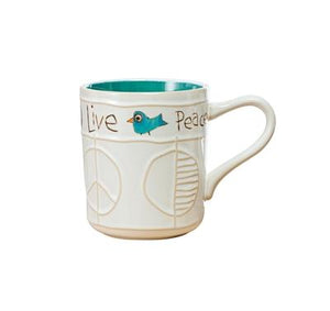 Studio M Proudly Handmade in Missouri, USA Live Simply Painted Peace Handcrafted Mugs