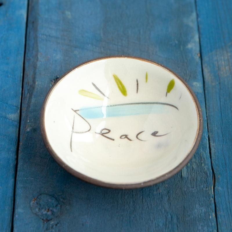 ZPots Proudly handmade in Vermont, USA Default Peace Mini Ceramic Trinket Bowl