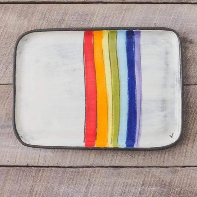 ZPots Rainbow Ceramic Rectangle Plate