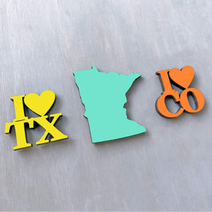 Spunky Fluff Proudly handmade in South Dakota, USA State Pride Initials Magnet