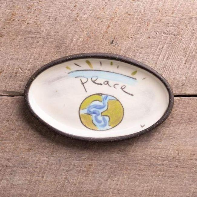 "ZPots Home Accents ""World Peace"" World Peace Mini Oval Dish"