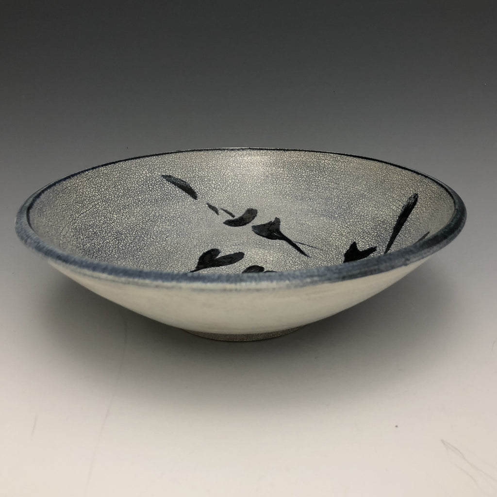 Grey Crackle Glaze Dish with Cobalt Brushwork- DS10