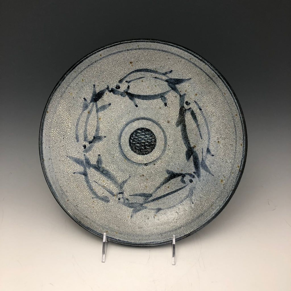 Grey Crackle Large Dish with Cobalt Brushwork Fish Motif - DS8