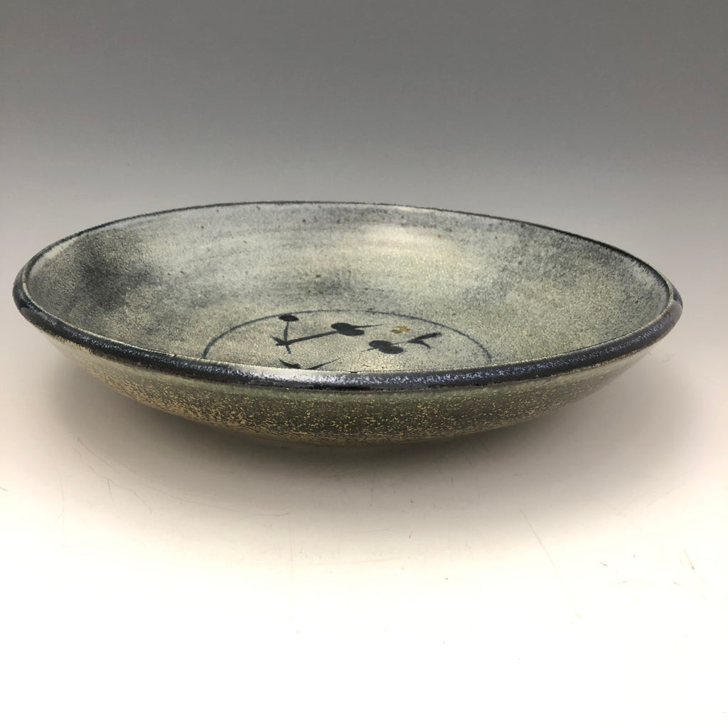 Grey Crackle Glaze Dish with Cobalt Brushwork - DS12