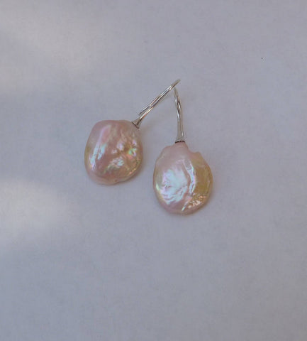 Peach Lavender Baroque pearls on SS ear wires