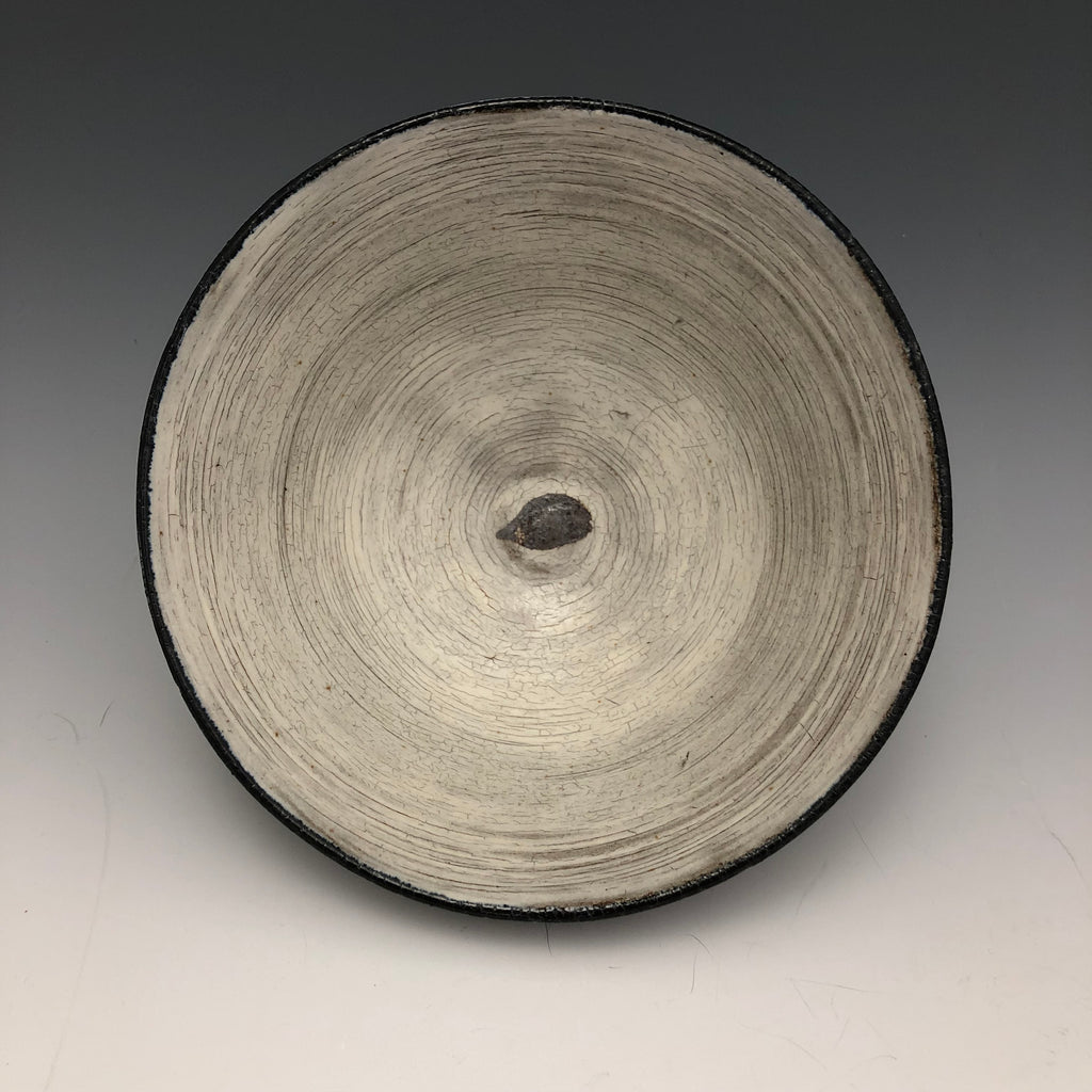 Dark Stoneware Bowl with White Slip - BW93