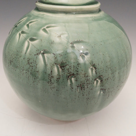 Carved Teal Jar - JR29