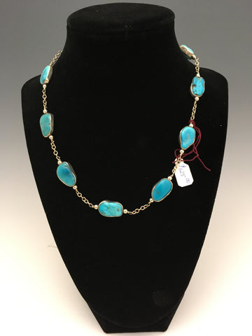Arizona turquoise SS encased beads, SS chain and accents