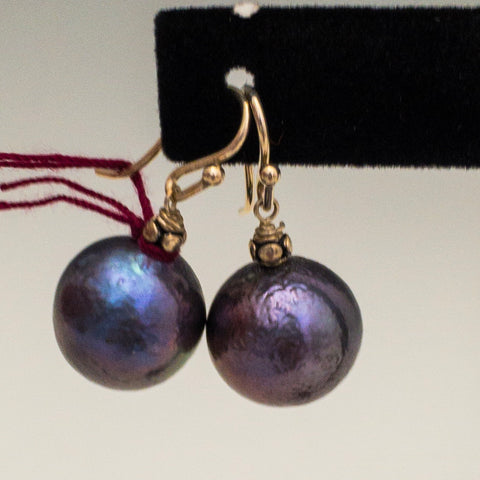 Blue grey Baroque pearls, SS ear wires