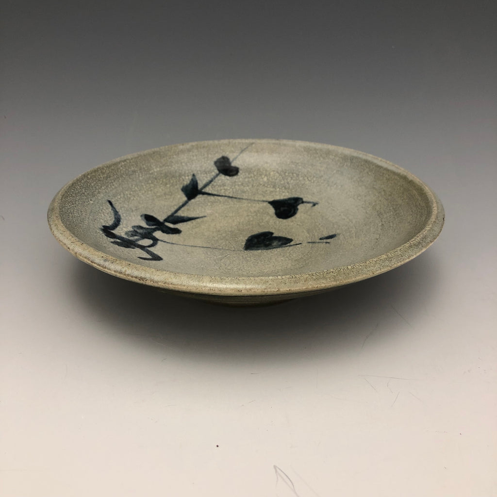Grey Crackle Glaze Dish with Cobalt Brushwork - DS11