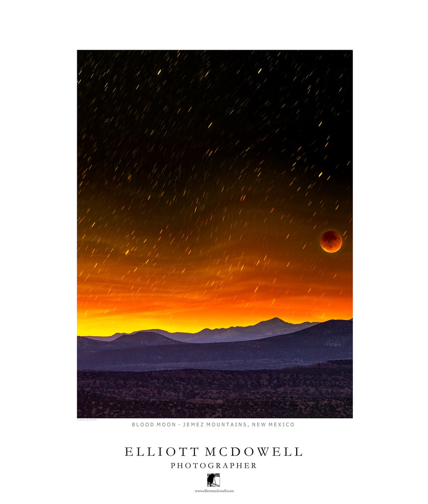 Jemez Mountains with Blood Moon, New Mexico - Poster