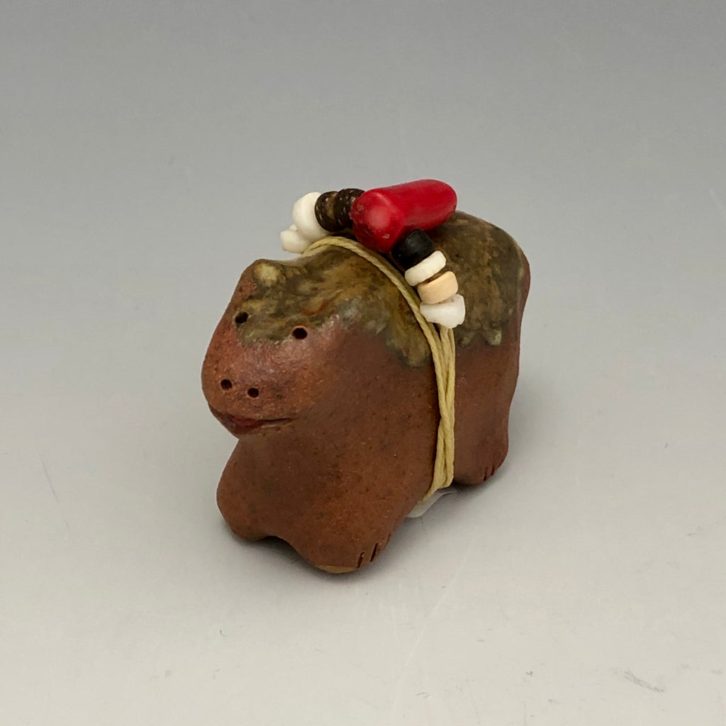 Pottery Animal Fetish Critter with Beads BD33
