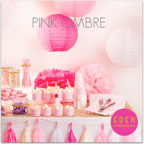 Pink Ombre pink and gold bridal shower party
