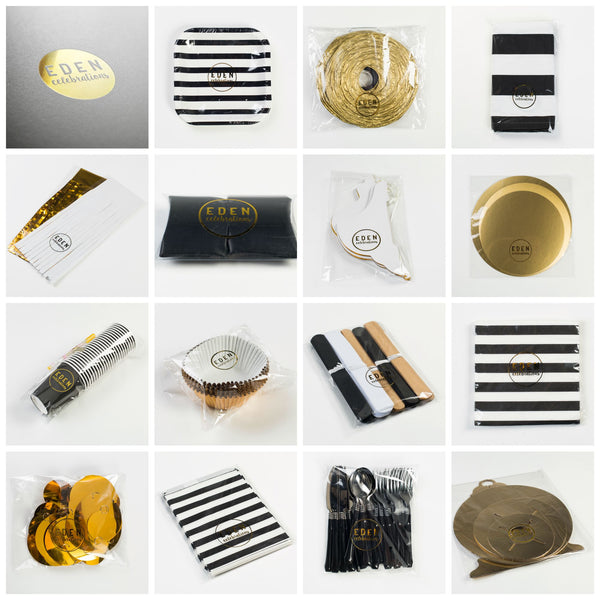 Black white and gold party ware