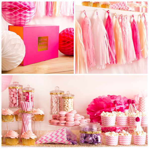 Pink ombre chevron party