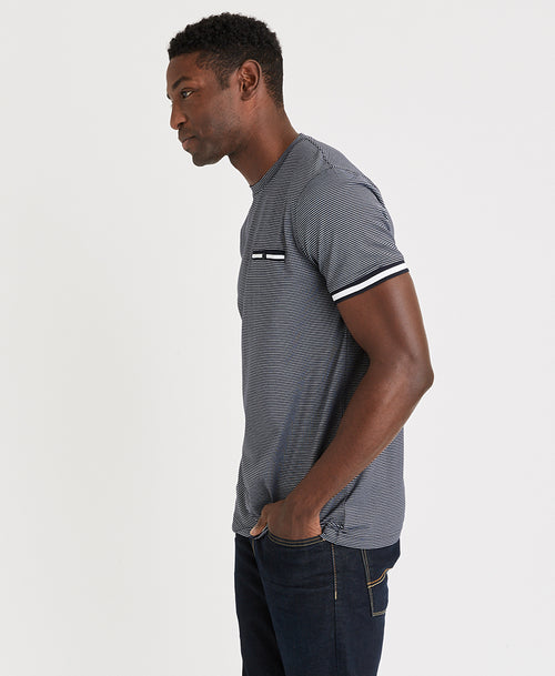 Michael Brandon Rib Stripe Crew